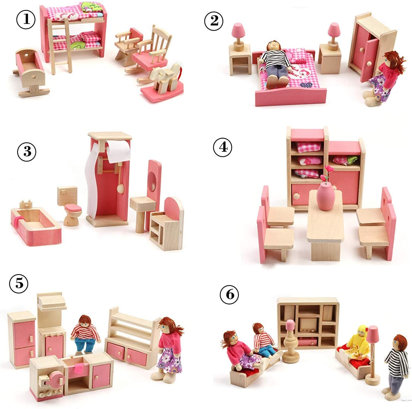 Huayao 6 Set Wood Family Dollhouse Furniture Set with 4 People Wooden Family Dolls, Bedroom/Living Room/Kid Room/Bathroom/Kitchen/Dining Room