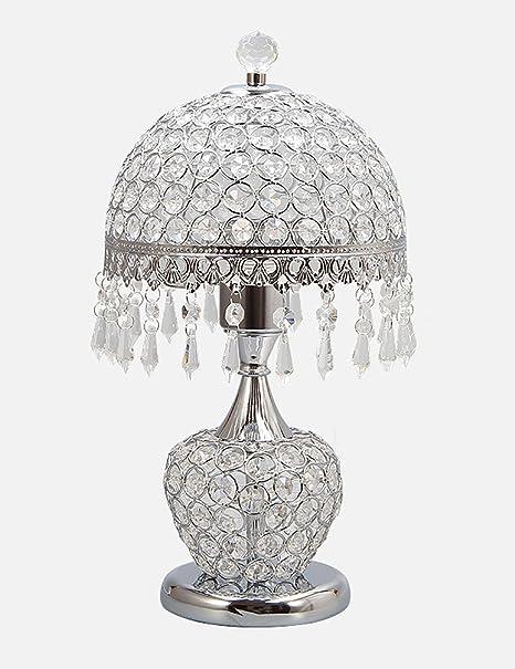 HIAPENG Lámpara de Mesa de Cristal Dormitorio Europeo Dormitorio ...