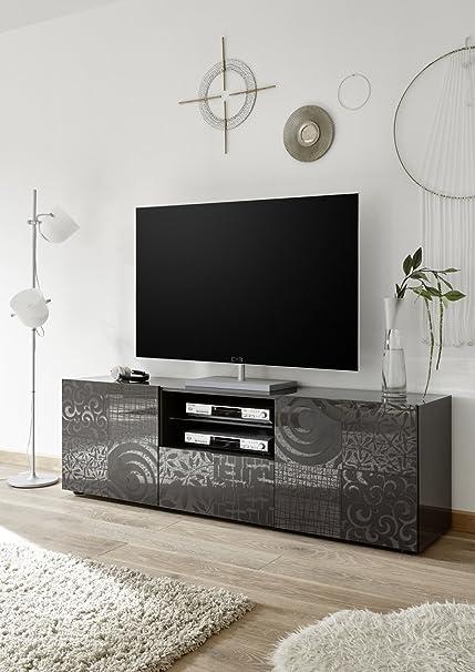 Mobile Porta TV 2 Doors 1 Drawer Modern Gloss Grey Door with Screen ...