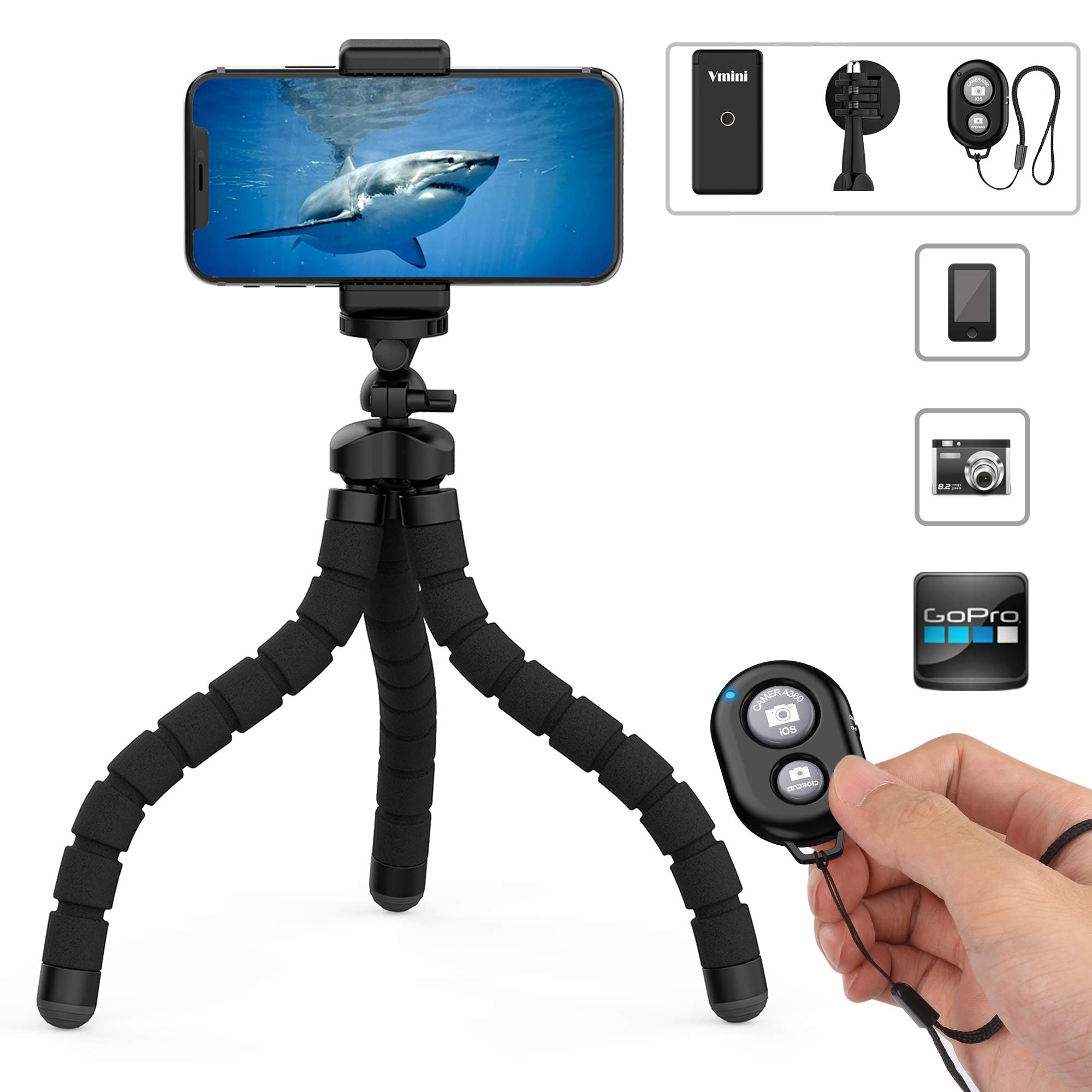 Phone Tripod, Vmini 11'' Extended & Flexible Tripod for iPhone, with Rock-Solid Quality, Bluetooth Remote Shutter for iOS/Android Phone, Accessories Perfect for Mobile Phone, Camera, Gopro Camera