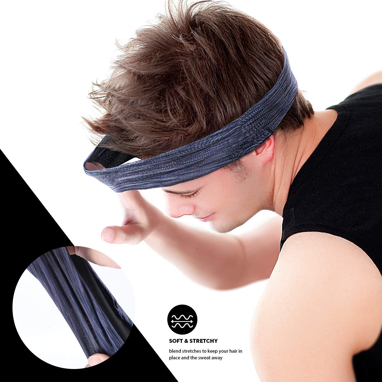 Workout Yoga ACVCY Headbands for Men Women Cooling Headwear Bike Helmet Friendly Crossfit 2 Pack Sweatband Set /& Hair Bands for Running