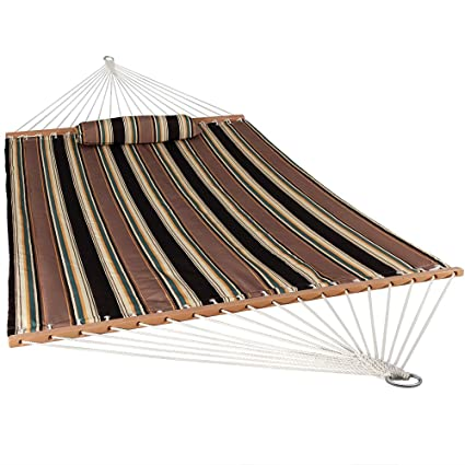 Sunnydaze Two Person Hammock Quilted Fabric with Spreader Bars, 450 Pound Capacity, Sandy Beach