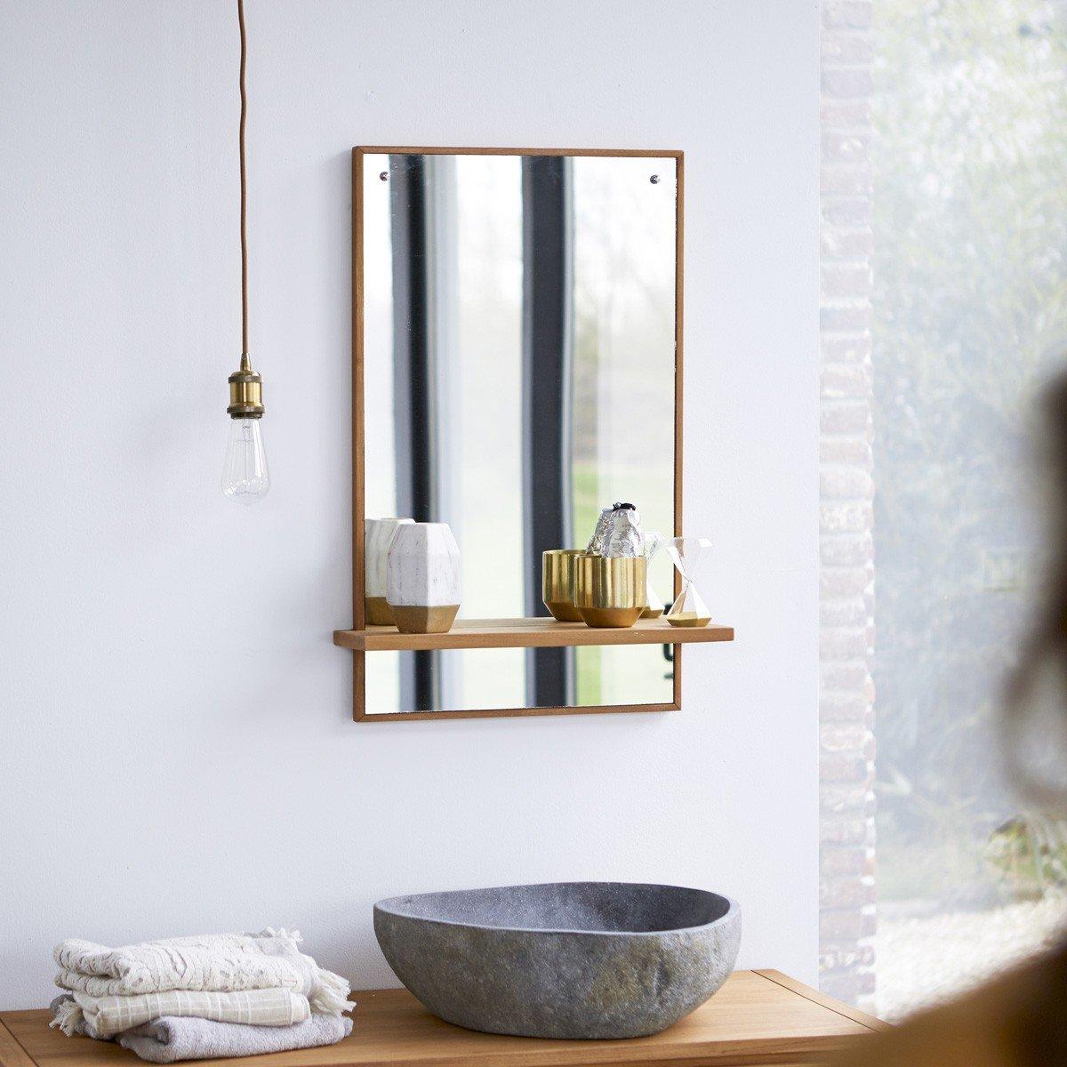 Tikamoon Galyno Miroir - Teck - Beige - 50 x 15 x 75 cm