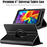 """Premium 8"""" Tablet Case, Durable 360 Degree Rotating PU Leather Cover Stand Folio Case for Most 8"""" Tablets Amazon Fire HD 8 RCA Asus ZenPad Samsung Tab (8"""" Black)"""