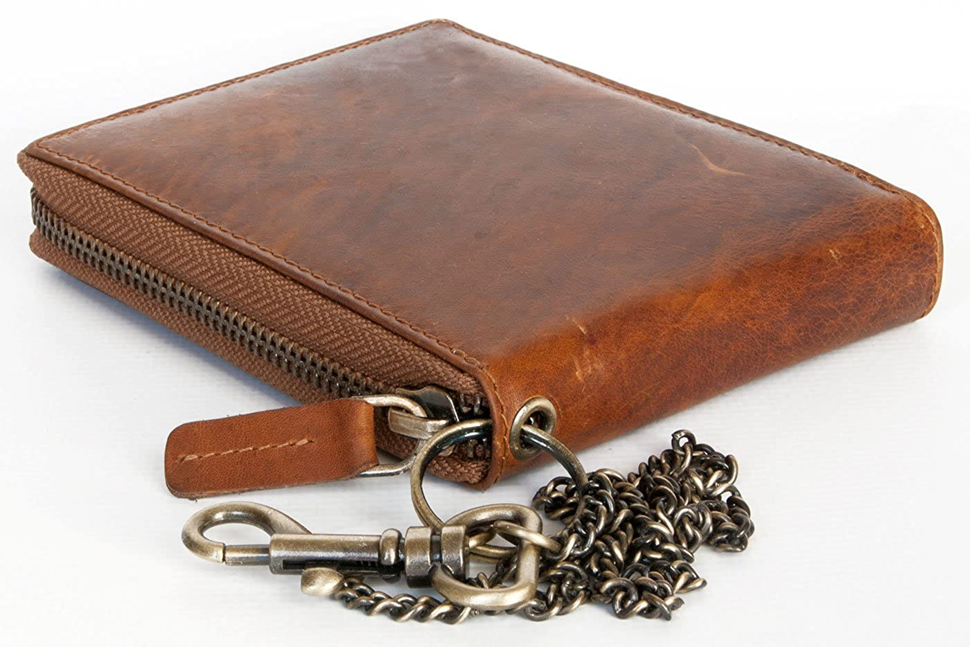 Glazed Genuine Leather Wallet with Metal Zipper Around and Chain