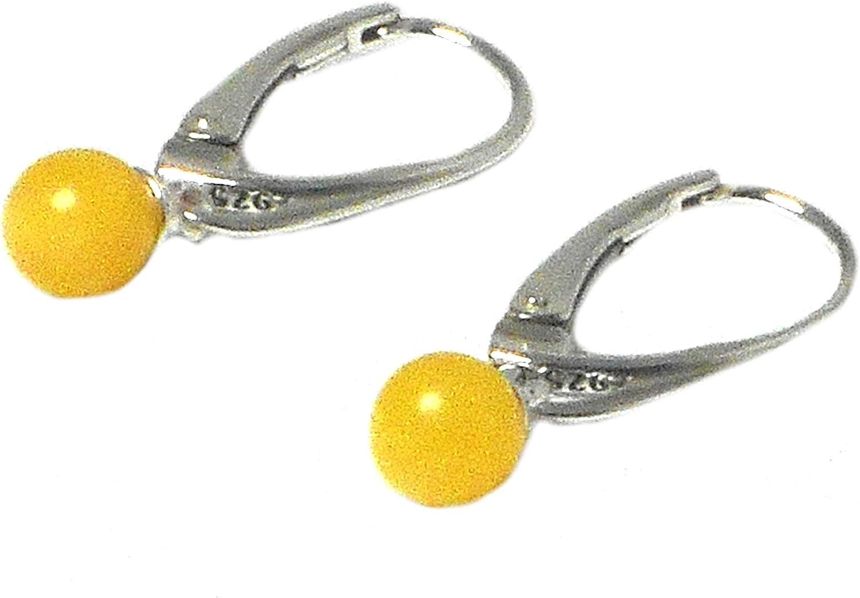 Art Gecko ARST02101818 - Pendientes de plata de ley 925 y 5 mm, diseño de mariposas y ámbar