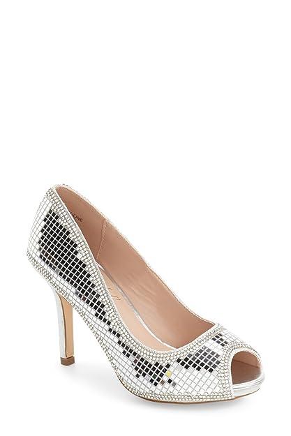 2128063271 Lauren Lorraine Pauline Peep Toe Mirror Rinestone Evening Formal Dress Pump  (6) Silver