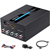 EASYCEL HDMI to Component Converter, 1080P Aluminum HDMI to RGB Converter, HDMI to YPbPr 5RCA Converter Adapter with Scaler F