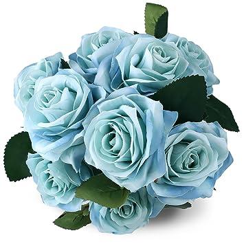 Silk Rose Blue 10 Heads SOLEDI Artificial Flower French Fake For Bridal Bouquet Wedding Living