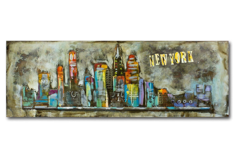 Mosa designs Metallbild 3D Wandbild New York Skyline Manhatten USA Modern Deko Abstrakt 150x50cm