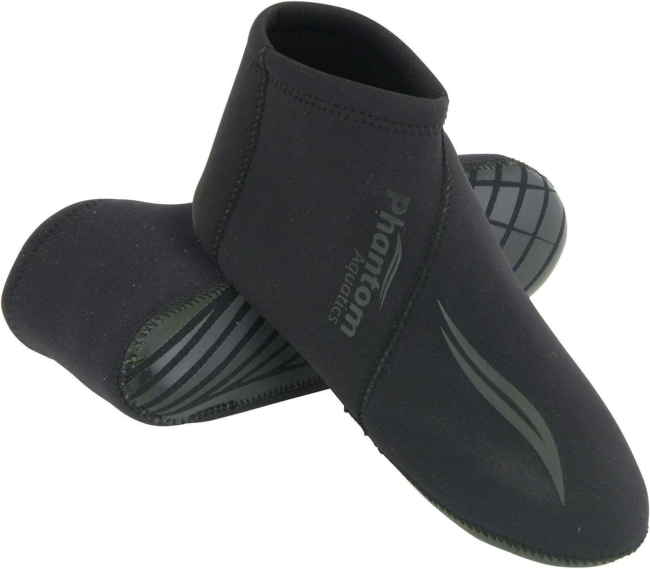 Phantom Aquatics Premium Neoprene 3mm Neoprene Water Sock, BK-SM
