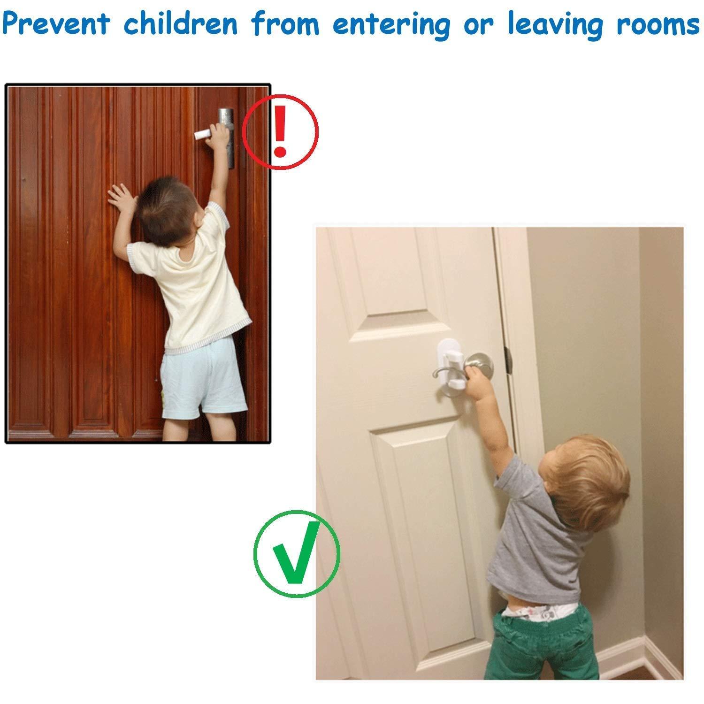 Door Lever Lock- Upgrade Child Proof Doors & Handles 3M Adhesive -Child Safety Proof Door Lock (2Pack) by Good Life Home Product (Image #3)