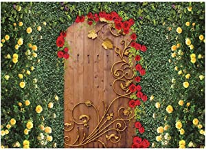 Funnytree 7x5FT Beauty Flower Garden Door Photography Backdrop Tea Party Birthday Wedding Decoration Green Lawn Leaves Spring Wonderland Background Photo Booth Prop