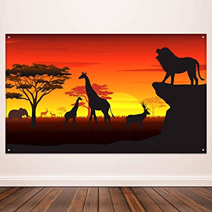 African Safari Theme Party Decorations, African Safari Backdrop Banner for  African Safari Theme Supplies, Tropical African Forest Jungle Safari Scenic