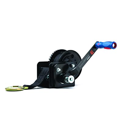 TR Industrial 1600 lb. Trailer Winch with Brake, Pre-Installed 20 ft Strap and Hook: Home Improvement