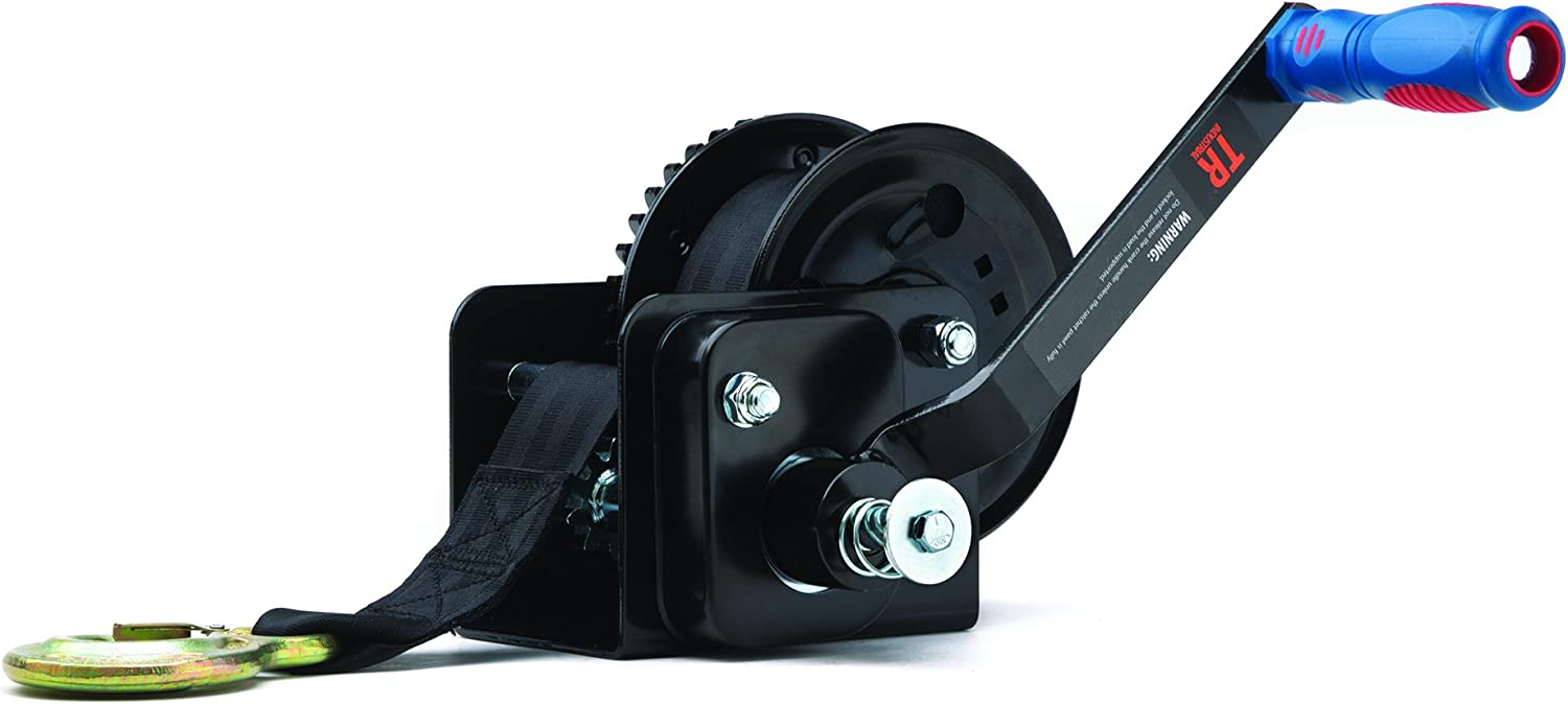 TR Industrial 1600 lb. Trailer Winch with Brake, Pre-Installed 20 ft Strap and Hook 716CixqOlfL
