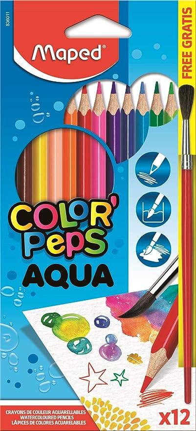 Maped - Estuche de 12 lápices de colores acuareables + pincel de regalo (147033): Amazon.es: Oficina y papelería