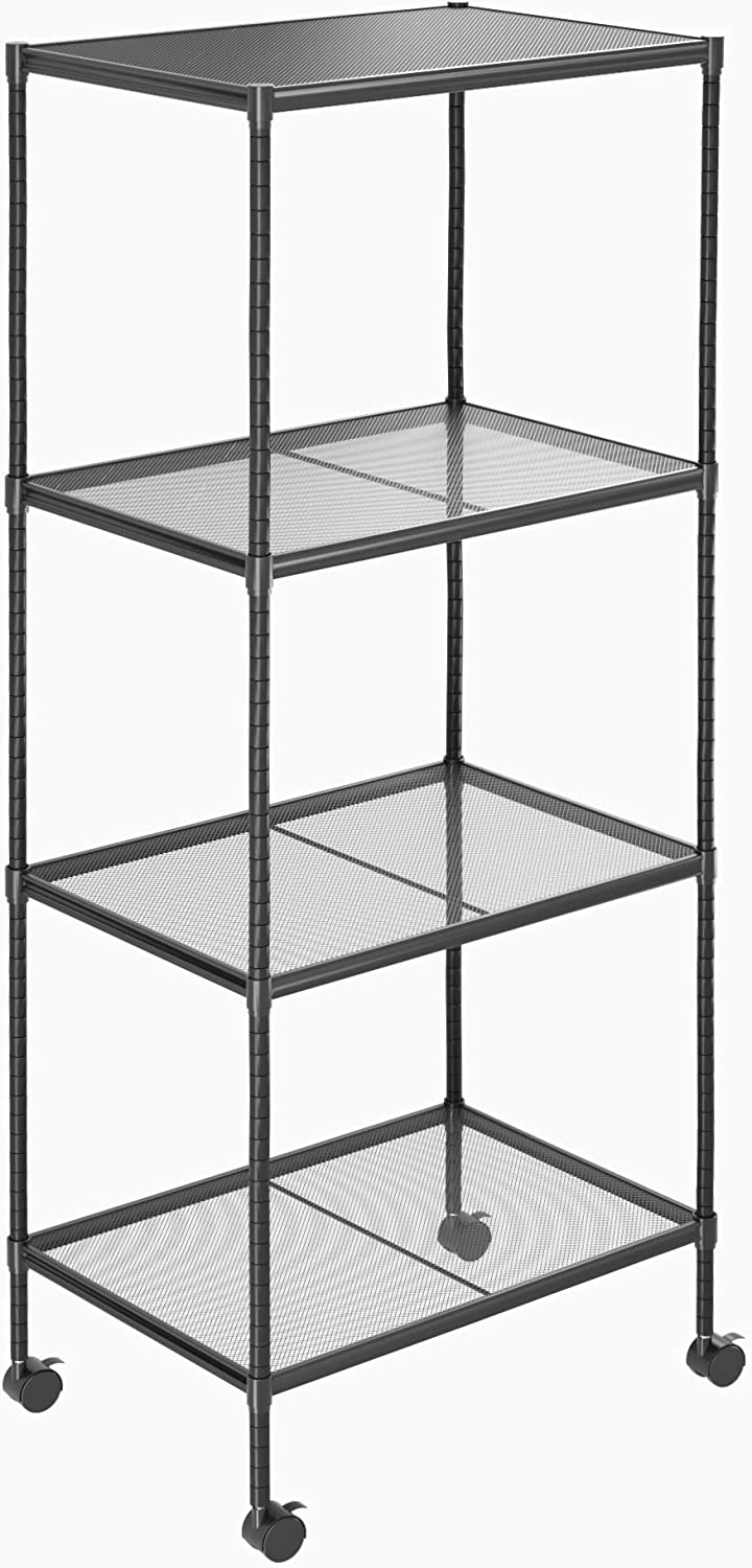 OVICAR 4-Tier Wire Storage Shelves, Adjustable Shelving Units with Wheels, Steel Metal Storage Rack for Kitchen Pantry Closet Laundry, Durable Organizer Garage Tool Storage Shelf