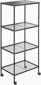 OVICAR 4-Tier Wire Storage Shelves, Adjustable Shelving Units with Wheels, Steel Metal Storage Rack for Kitchen Pantry Closet Laundry, Durable Organizer Garage Tool Storage Shelf