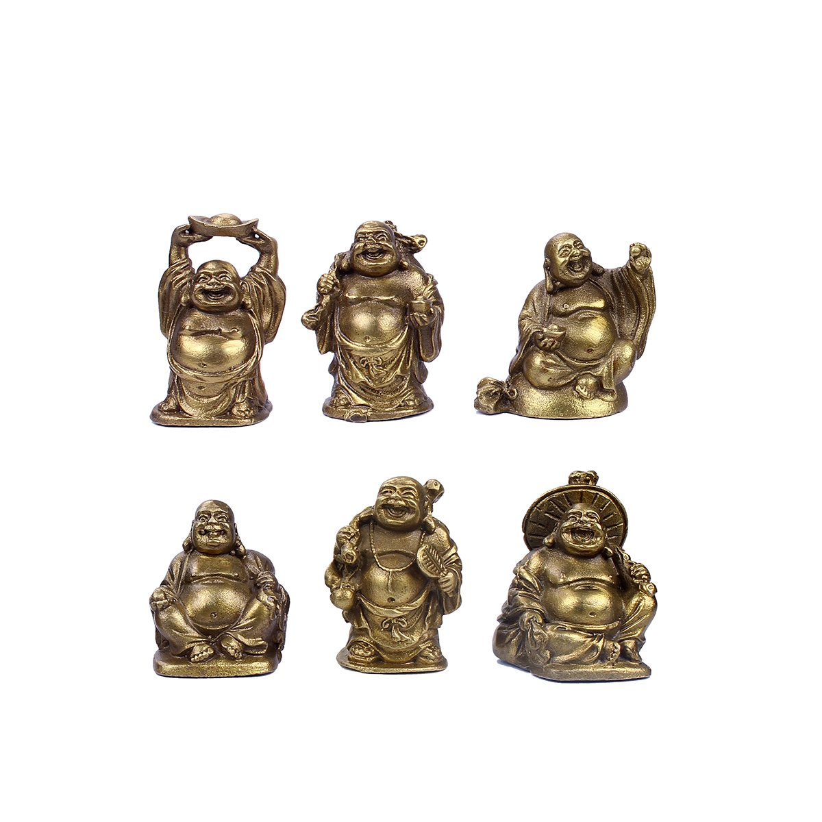 Brass Laughing Buddha Figurines Lucky Happy Buddha Statue-2'' Set of 6 Gift