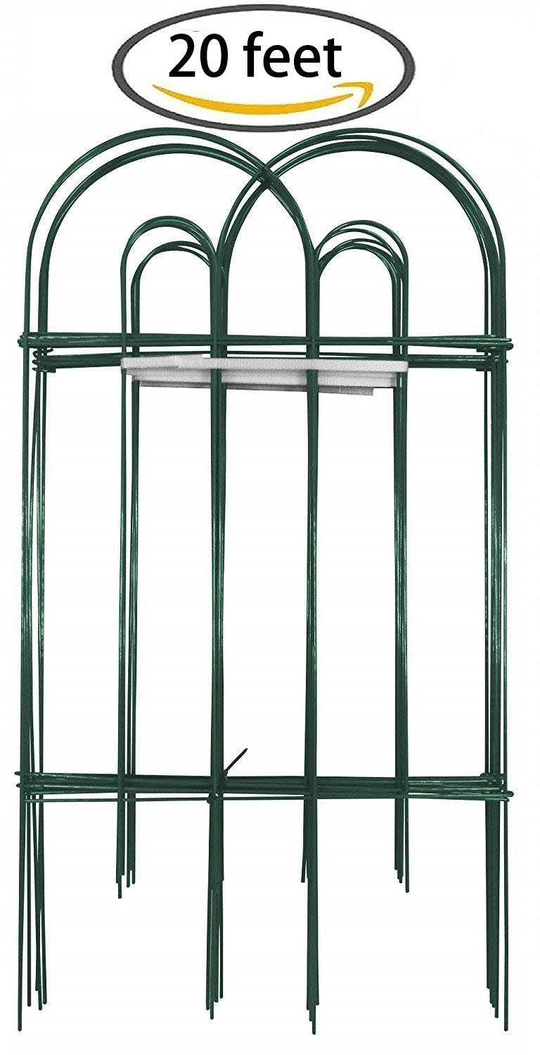 Amagabeli Decorative Garden Fence 32 in x 20 ft Rustproof Green Iron ...