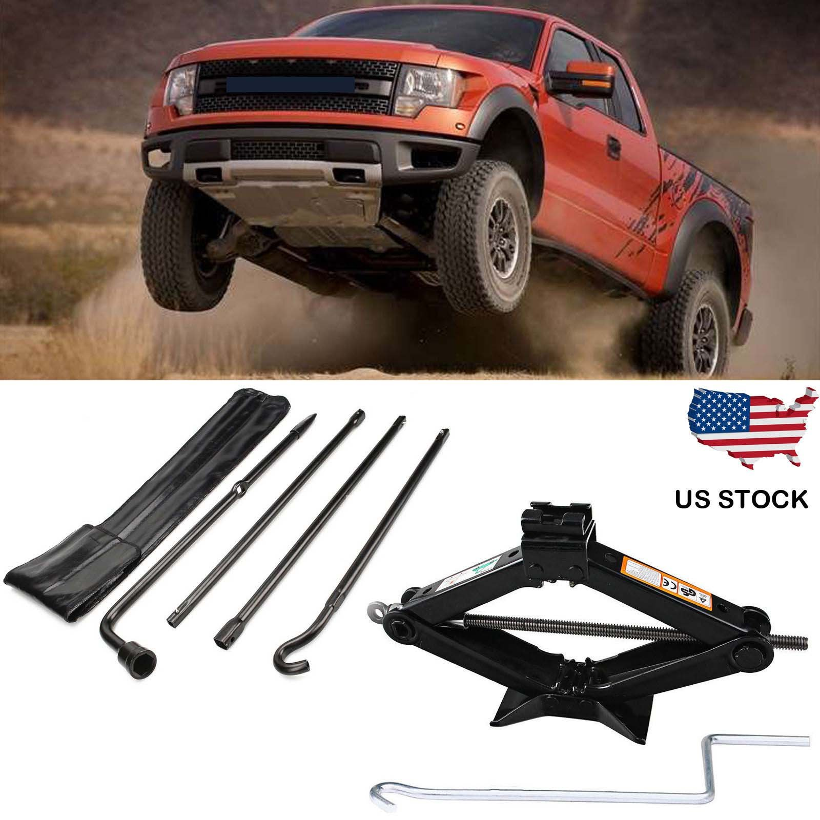 Bowoshen For Ford F150 (04-14) Spare Tire Lug Wrench Tool Kit + 2 Tonne Scissor Jack Heavy Duty 90-360MM