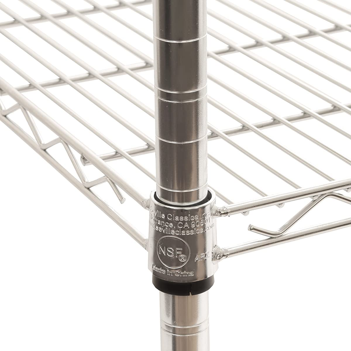 "Seville Classics UltraDurable 5-Tier NSF Steel Wire Shelving with Wheels 18"" D x 24"" W x 72"" H UltraZinc"