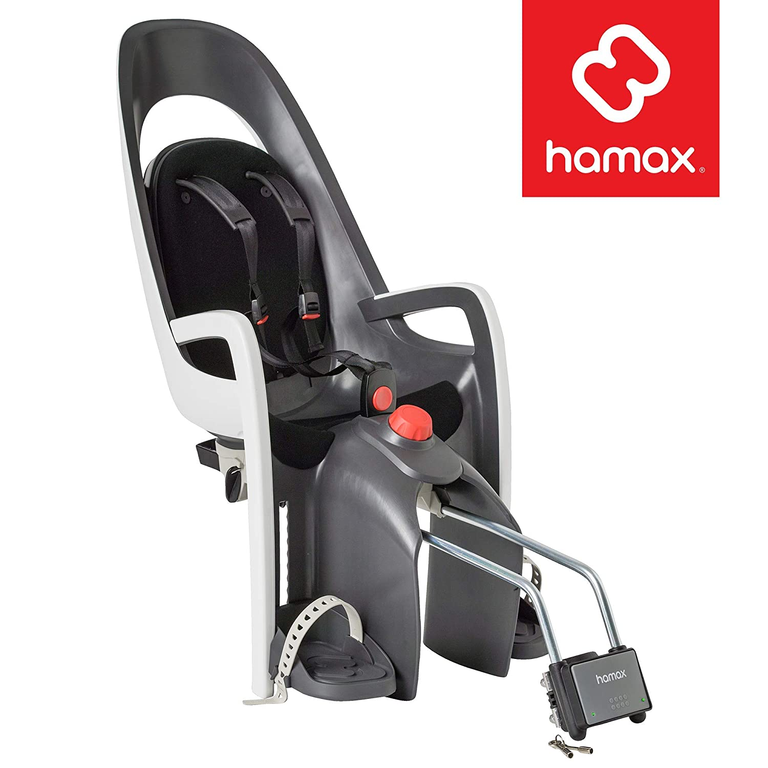 Hamax Caress Child Bike Seat, Ultra-Shock Absorbing Frame or Rack Rear Mount, Adjustable to Fit Kids Baby Through Toddler 9 mo – 48.5 lb. 35-Year Award Winning European Brand.