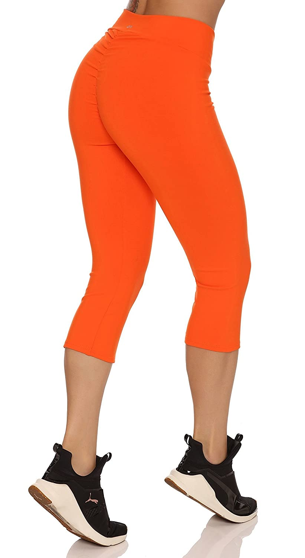 Orange Scrunch Booty Lift Brazilian Workout Capri Pants