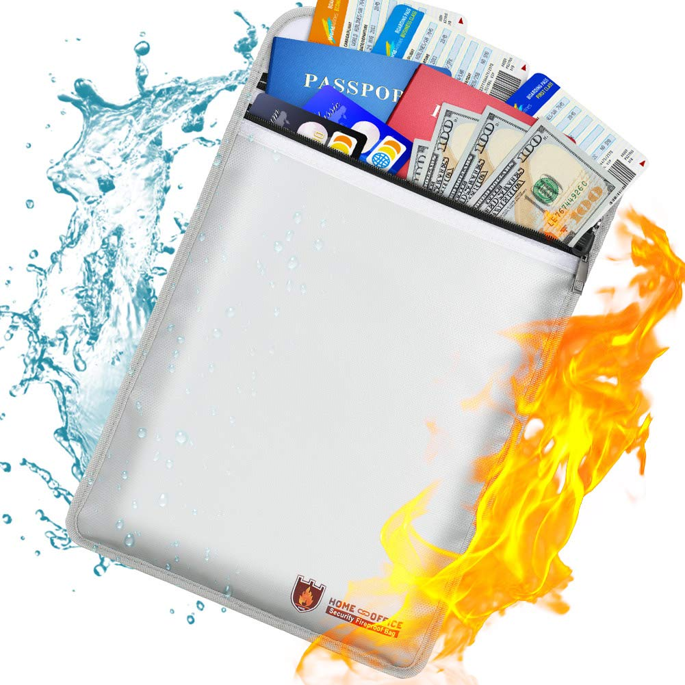 Bolsa de documentos ign/ífuga con revestimiento de silicona joyas y pasaporte 38CM*28CM bolsa de almacenamiento seguro para dinero resistente al fuego y cierre de cremallera documentos