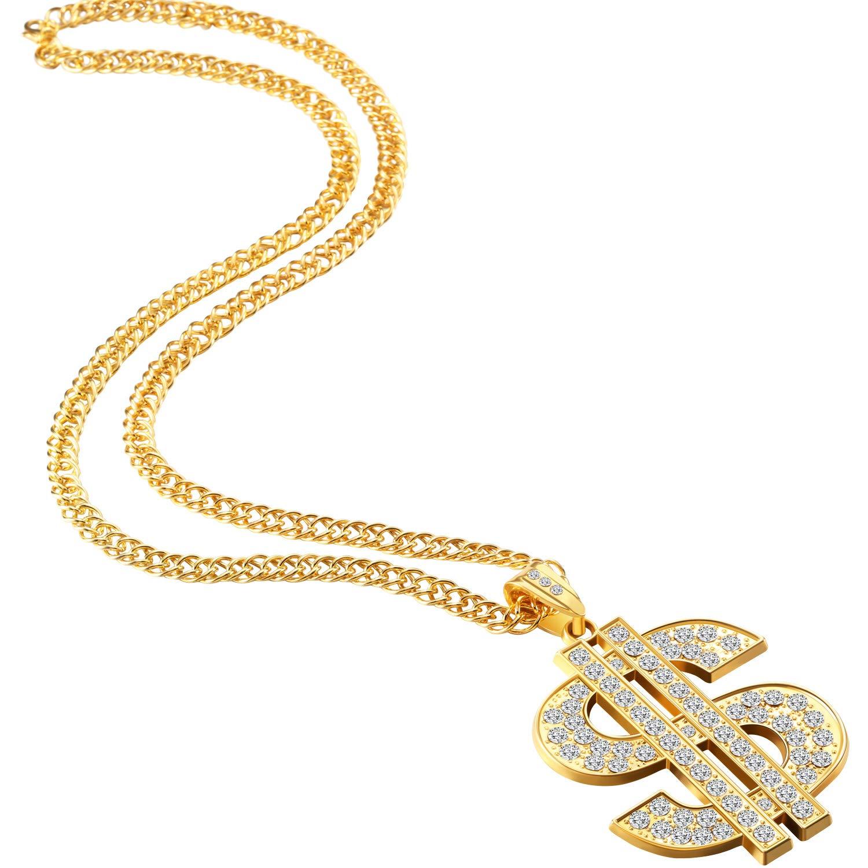 4 Pi/èces Cha/îne Plaqu/é Or pour Homme avec Collier Pendentif Signe Dollar Collier Dollar 4 Pi/èces Collier Dollar Hip Hop