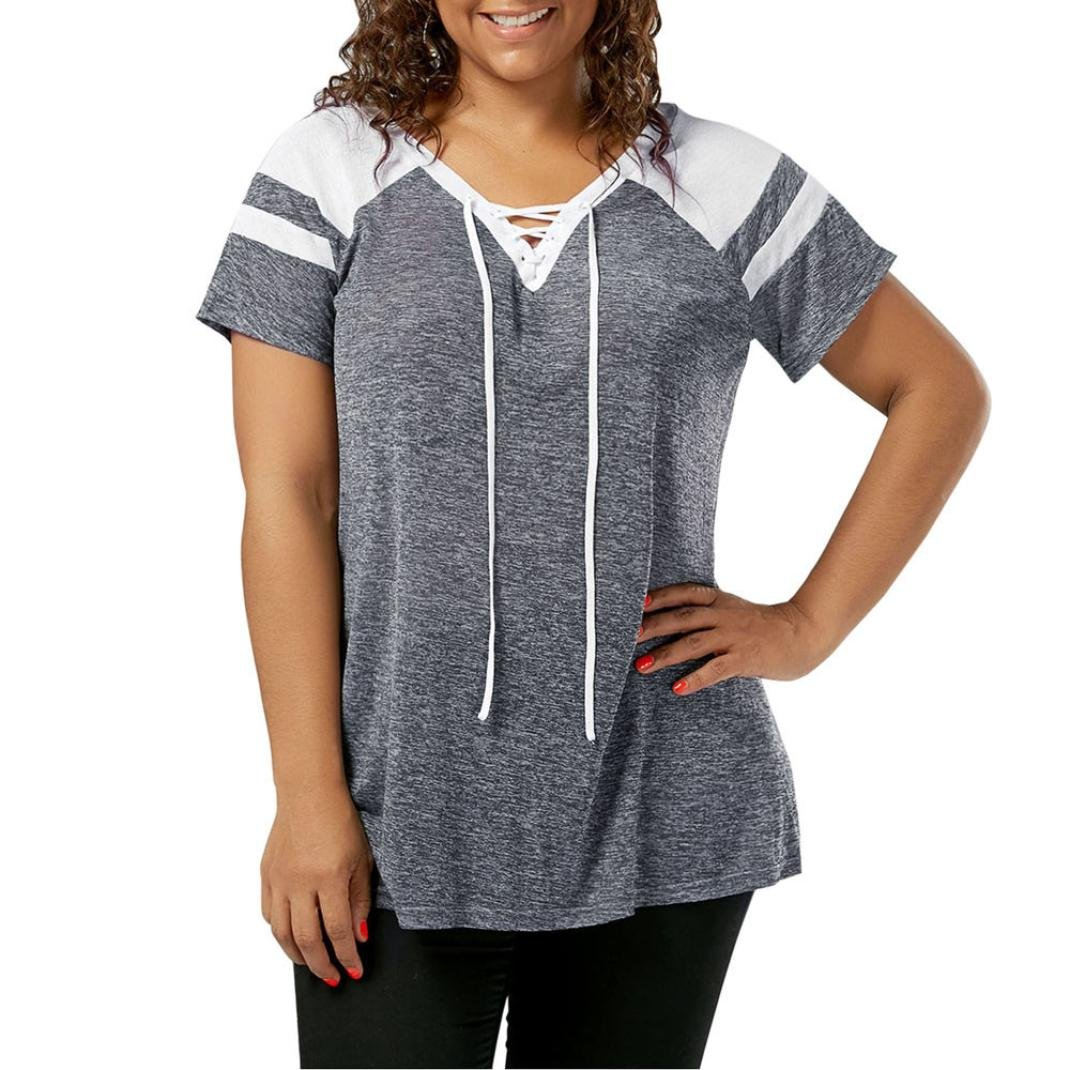 Victorcn Fashion Plus Size Womens Short Sleeve Lace Up Raglan Sleeve Tops Blouse T-Shirt (5XL, Gray)