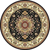 Safavieh Lyndhurst Collection LNH329A Traditional Medallion Black and Ivory Round Area Rug (5'3