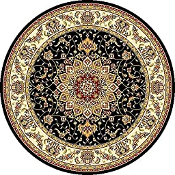 Safavieh Lyndhurst Collection LNH329A Traditional Medallion Black and Ivory Round Area Rug (5\'3\