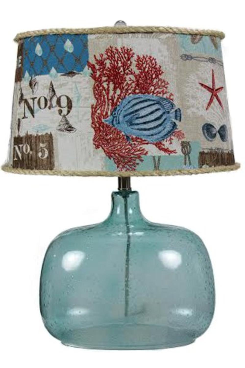 17'' Contemporary Blue Spa Glass Table Lamp with Marine Patchwork Shade