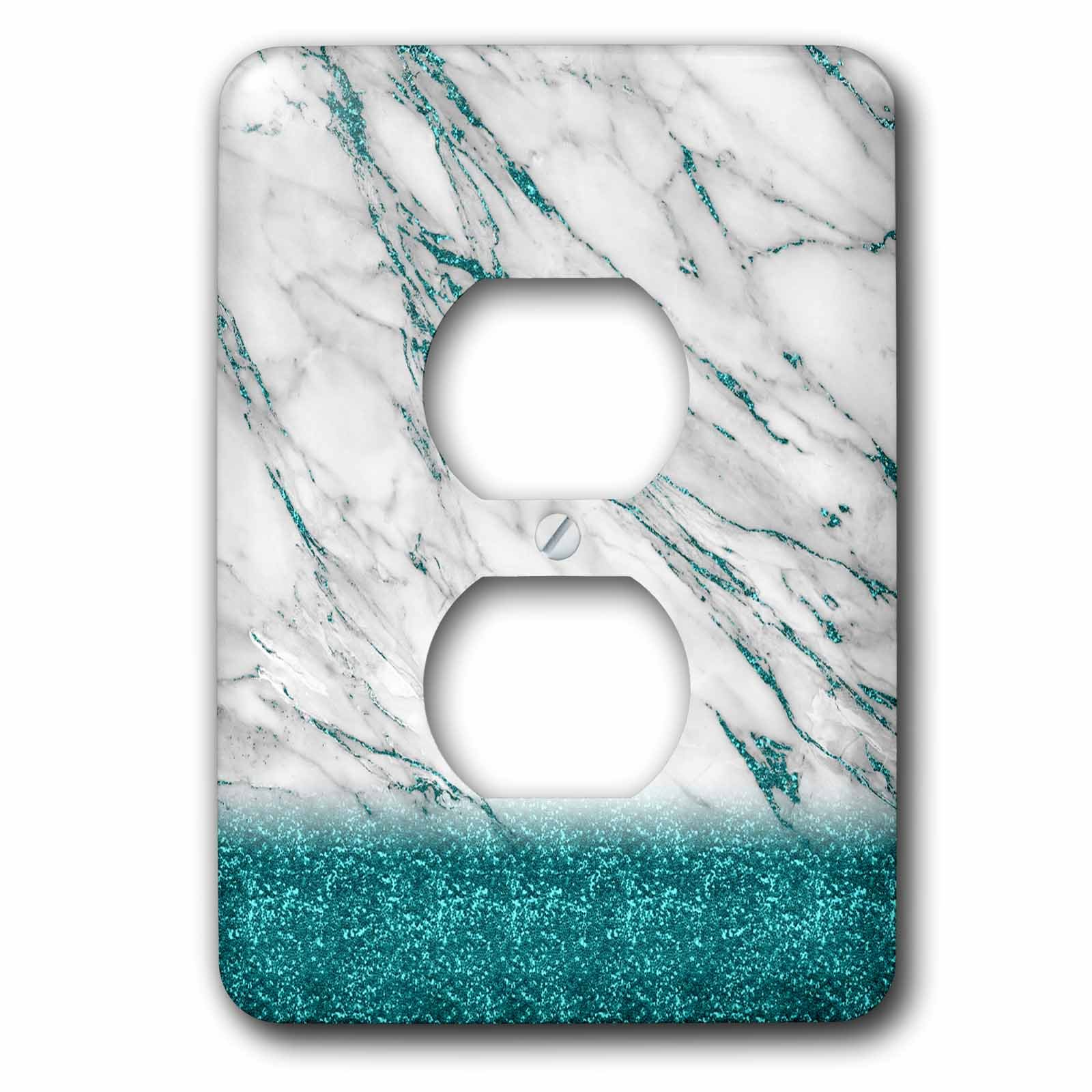 3dRose Uta Naumann Faux Glitter Pattern - Luxury Grey Aqua Teal Gem Stone Marble Glitter Metallic Faux Print - Light Switch Covers - 2 plug outlet cover (lsp_268849_6)