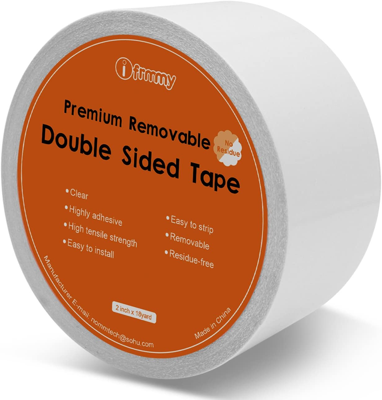 Removable Clear Double Sided Sticky Tape- No Residue, 2 Inches x 20 Yards : Office Products