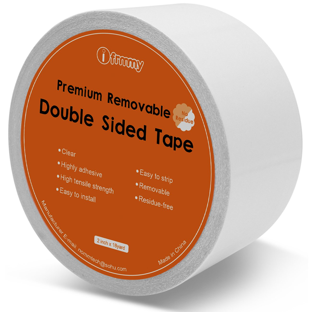 Removable Clear Double Sided Sticky Tape - No Residue, 2 Inches x 20 Yards