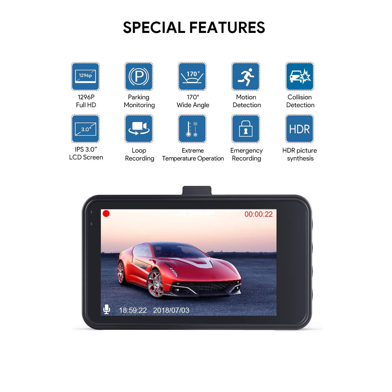 Lensoul Dash Cam Dashboard Cam Full HD 1080P Car Camera Recorder 3
