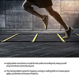Starbun Velocidad de fútbol - 4m balón de fútbol de fútbol Flexibilidad Velocidad Entrenamiento de la Aptitud de Salto de Escalera: Amazon.es: Deportes y aire libre