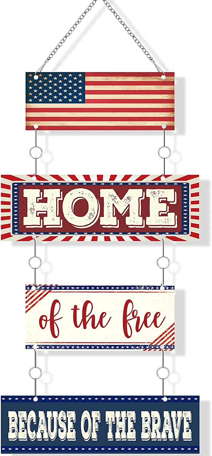 Independence Day American Flag Metal Wall Door Decor Home of The Free Because of The Brave Metal Door Sign Patriotic American Flag Metal Hanging Sign Rustic Patriotic Metal Plaque for Home Decor