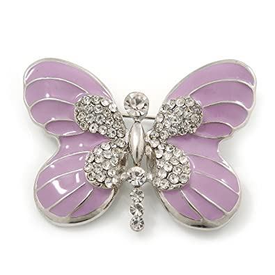 Pale Lavender Enamel Clear Crystal U0027Butterflyu0027 Brooch Pin, Rhodium Plated