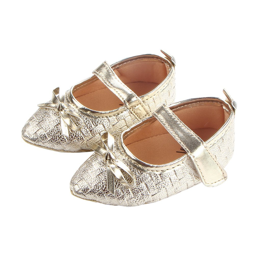 unigds Newborn Baby Girl Soft Sole Leather Crib Shoes Anti-Slip Sneaker