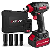 20V Max Cordless Impact Wrench, EASTVOLT Brushless Motor with 1/2 Inch Chuck, Max Torque 221ft.lbs, 2 Torque Settings, Fast C