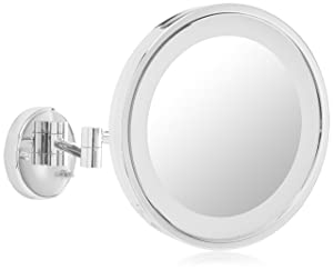 Jerdon HL1016CL 9.5-Inch LED Lighted Wall Mount Makeup Mirror with 5x Magnification, Chrome Finish