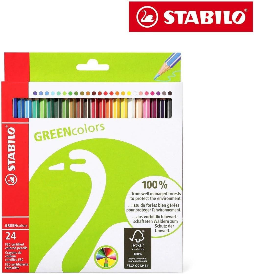 6019//2-24 /Étui carton de 24 crayons de couleur STABILO GREEN hexagonal