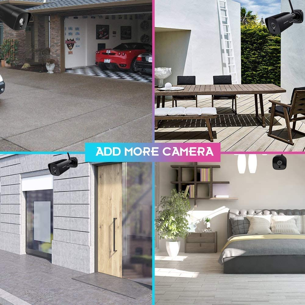 Outdoor Security Camera, 1080P WiFi Camera Wireless Surveillance Cameras, PIR Smart Motion Detection, IP Camera with IP66 Waterproof, IR Night Vision, Activity Alert, Deterrent Alarm - iOS, Android
