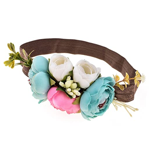 29437db9af35fb Amazon.com: DreamLily NewBorn Baby Flower Crown Birthday Hair Band Baby  Shower HairBand for Little Girl Toddler BB07 (Blue Pink): Clothing