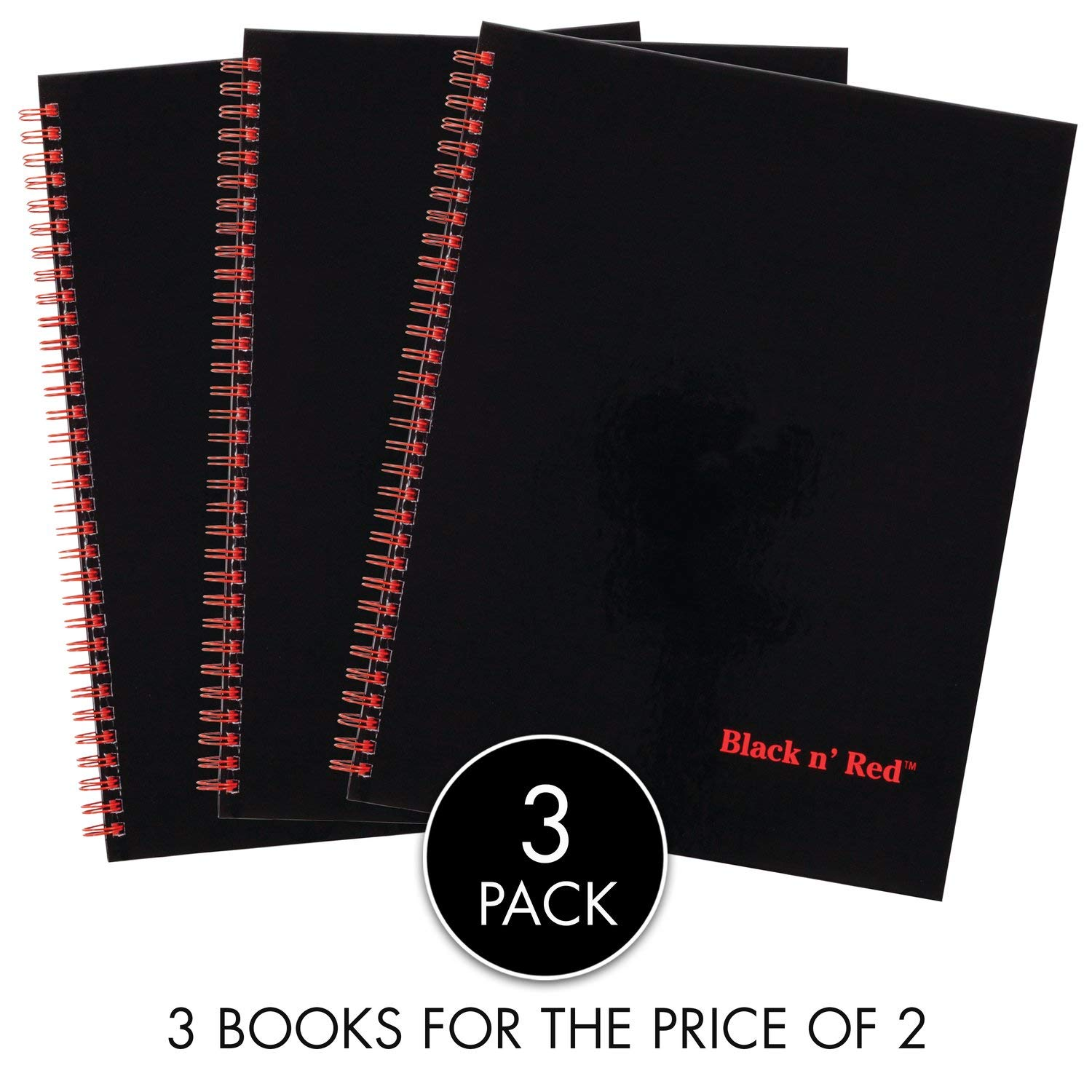 Black n' Red Twin Spiral Hardcover Notebook Value Pack, 3 for Price of 2, Large, Black/Red, 70 Ruled Sheets, 3 Pack (400123488) by Black n' Red