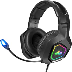 Rii Gaming Headset, PC Gaming Headphone Stereo Headset Wired Gaming Headphones with Noise Canceling Mic & LED Light for Laptop Mac Switch Games